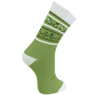ASP18710L Men's bamboo socks, bicycles green and cream, shoe size 7-11